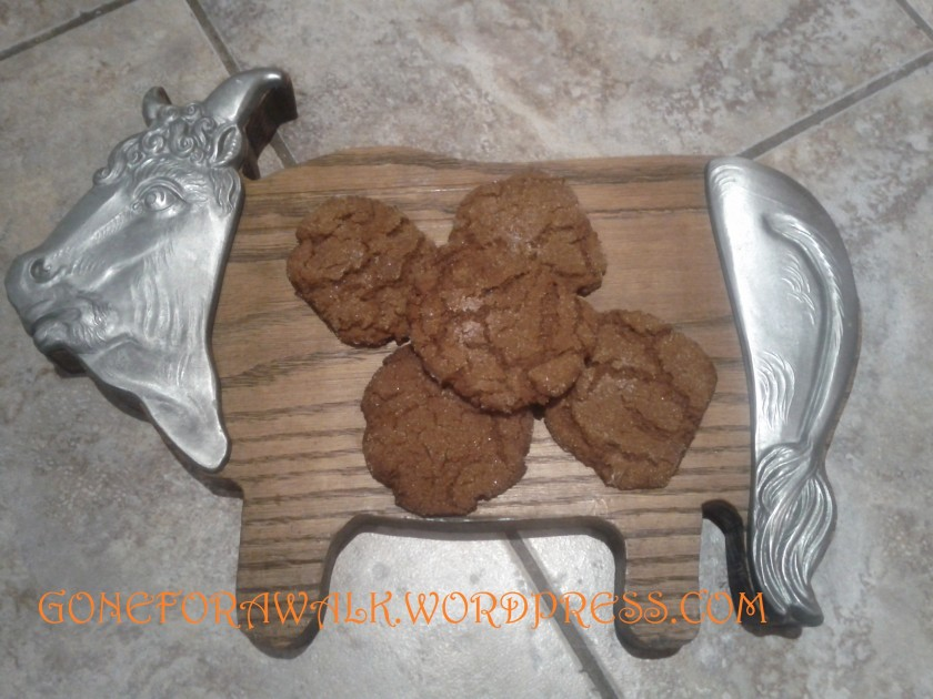 These are my favourite cookies of all time.  They make me think of Santa, and snow falling, and lights flickering on a christmas tree and all things good.  The family recipe Ginger Snap, chewy and delicious on the inside, with a snap around the edges.  And I'm letting you all see the recipe.  Tis the season of giving, after all.
