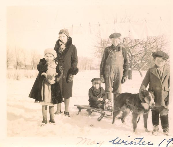 I don't think I've said it before - but seriously, get these details from your grandparents while they're still around - you'll regret it later if you don't.  labeled 'may, winter, 19', I have so many questions.  dogsled?  frankly, it looks like they're off to Narnia.